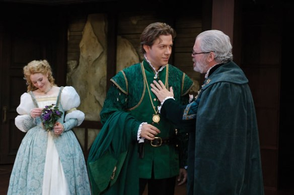 Emily Trask (left) as Ophelia, Ashley Smith as Laertes and Kieran Connolly as Polonius in the Utah Shakespeare Festival's 2006 production of Hamlet