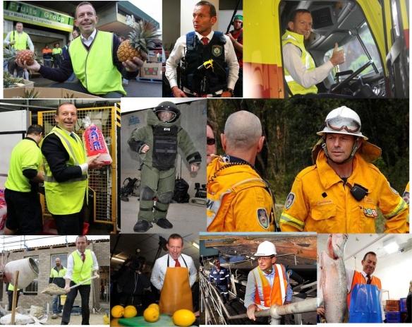 Tony as pineapple man,  policeman,  truck driver,  Iceman, the bomb disposal man, fireman  builder man, mango man, miner man and fish man