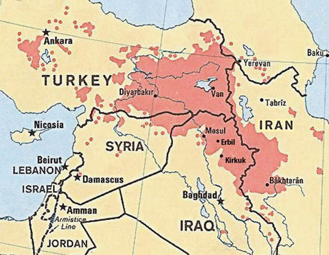 The distribution of Kurds is shown in pink.  An answer to the question of Kurdish nationalism will need be part of any solution to the regional crisis in the Middle East