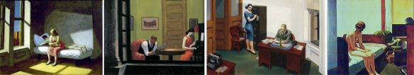 Psychological intensity in Edward Hopper: Summer in the City,  Room in New York,  Office at Night,  Hotel Room,