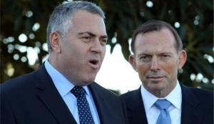 Joe Hockey is exhorting the Labour Party to pass the  burden of the war in the Middle East on to the poor of Australia. Tony Abbott looks on mildly amused