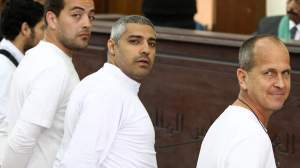 Greste with two other detained journalists from Al Jazeera English, along with 17 others are on trial for alleged links to the blacklisted Muslim Brotherhood movement.