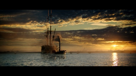 """Scene from the film of """"Fighting Temeraire"""" Tugged to her Last Berth to be Broken up"""""""