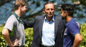 """Tony Abbott and the two test captains. """"All I could do was  sledge and now I'm Prime Minister."""""""