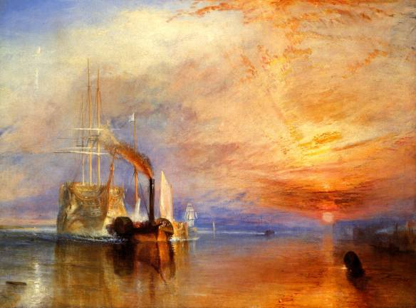 """Turner's painting of The """"Fighting Temeraire"""" Tugged to her Last Berth to be Broken up"""""""