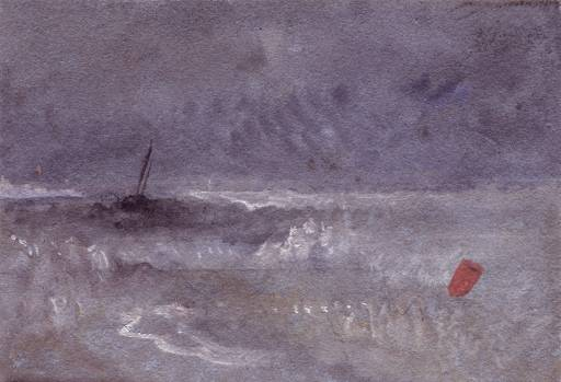 Boat and Red Buoy in a Choppy Sea circa 1828-30 by Joseph Mallord William Turner 1775-1851