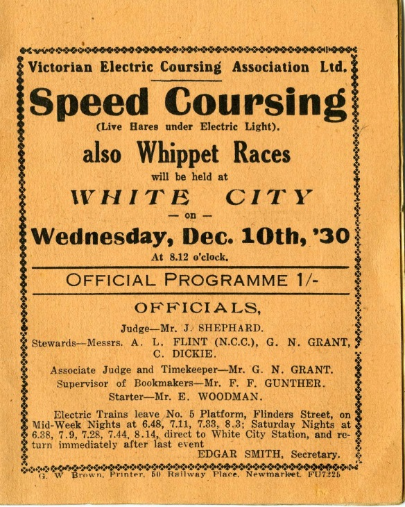 """A flyer for the White City racecourse advertising """"live hares under electric lights"""""""