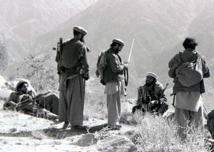 Mujahideen fighters in the Kunar Province of Afghanistan in 1987 during the Soviet-Afghan war