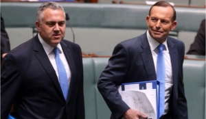 Abbott and Hockey arrive in Parliament wearing matching blue ties. White would be more appropriate, as they have run up the surrender flag on tackling the budget deficit
