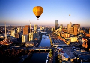 A politician-powered hot air balloon approaches ABC headquarters in Melbourne.