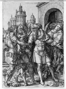 Heinrich Aldegrever, Lot Protecting the Angels from the Inhabitants of Sodom
