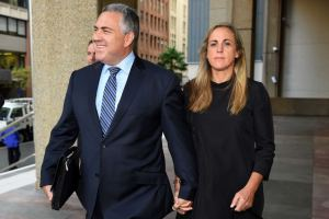 Joe Hockey arrives at court with his wife Melissa Babbage