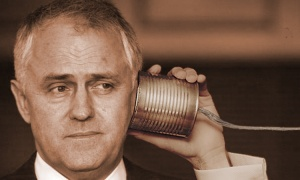 communications Minister Malcolm Turnbull waiting the Canning results on the NBN network