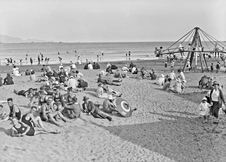 A day of fun at Lyall Bay in Wellington in the 1940s