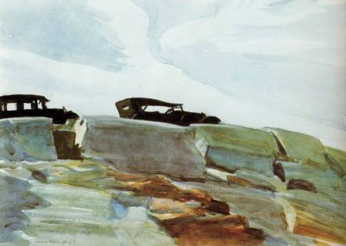 Cars and Rocks Edward Hopper