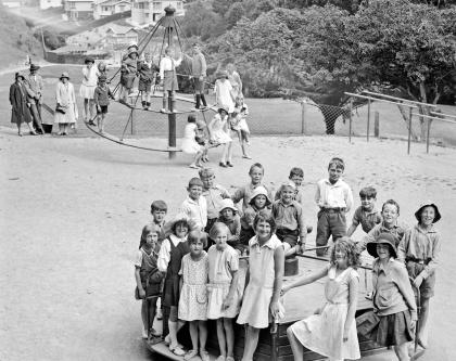 Children in the playground at Khandallah Park, Wellington, ca 1927