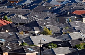 New housing development in the outer Melbourne suburb of Craigieburn. Generic urban sprawl, urban development, new housing estate, outer suburbs, housing developments, urban fringe, rooftops, green wedge, rural fringe, city planning, commuter suburbs. Picture by PAUL ROVERE / THE AGE. 31 March 2011. NEWS