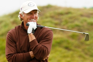 Greg Norman of Australia reacts on the ninth fairway during the second round of the British Open Golf championship, at the Royal Birkdale golf course, Southport, England, Friday, July 18, 2008. (AP Photo/Paul Thomas)