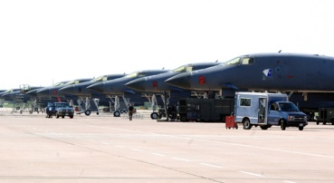 B-1B Lancers line the ramp at Dyess Air Force Base, Texas. Dyess has the only B-1 pilot-training facility in the Air Force. (U.S. Air Force photo/Tech. Sgt. Larry A. Simmons)